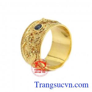 Nhẫn nam rồng vàng đá sapphire