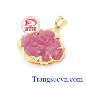 Mặt Phật Di Lặc Ruby Bình An chế tác tinh xảo đeo hợp thời trang và phong thủy