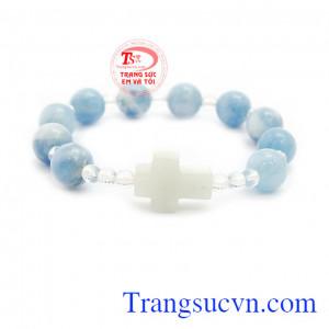 Chuỗi vòng công giáo aquamarine