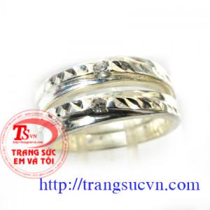 Nhẫn đôi bạc đá