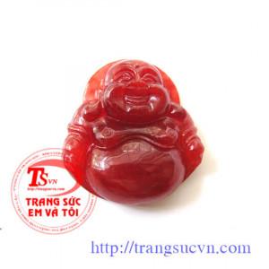Phật di lặc ngọc cẩm thạch đỏ