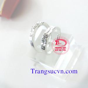 Nhẫn đôi bạc gắn đá trắng