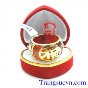 Nhẫn Mã Não Đỏ bọc vàng 18k