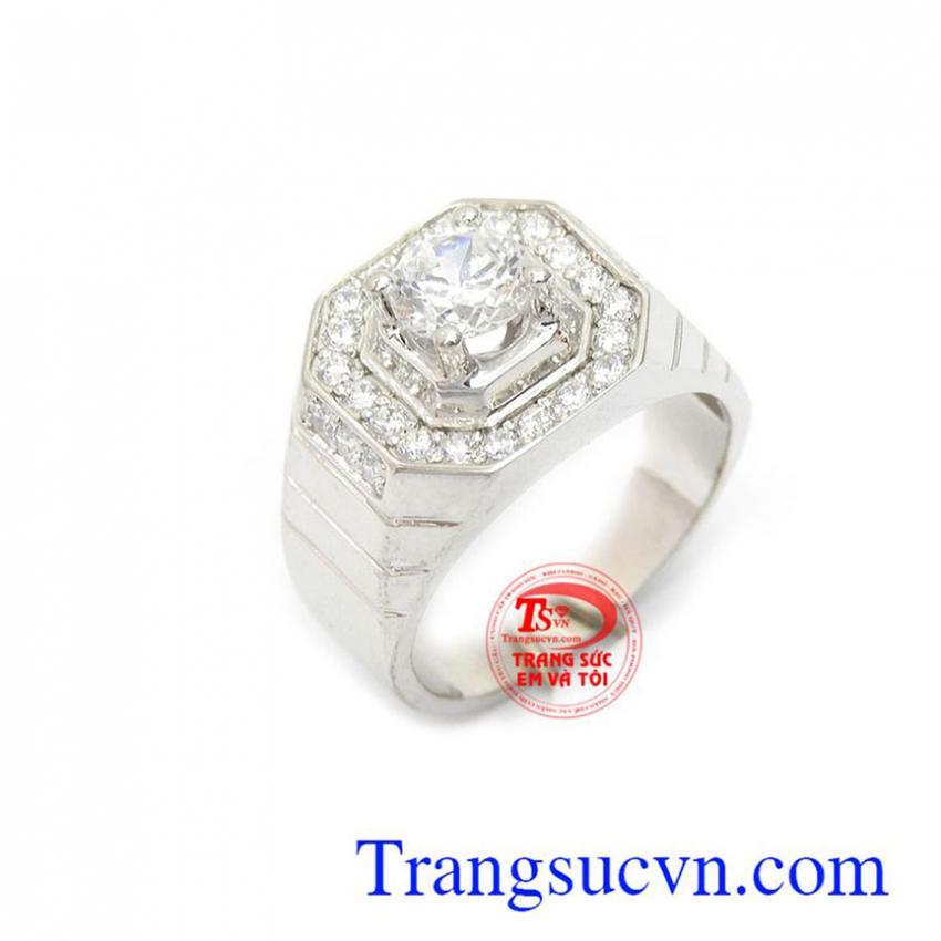 Nhẫn vàng trắng nam sang trọng