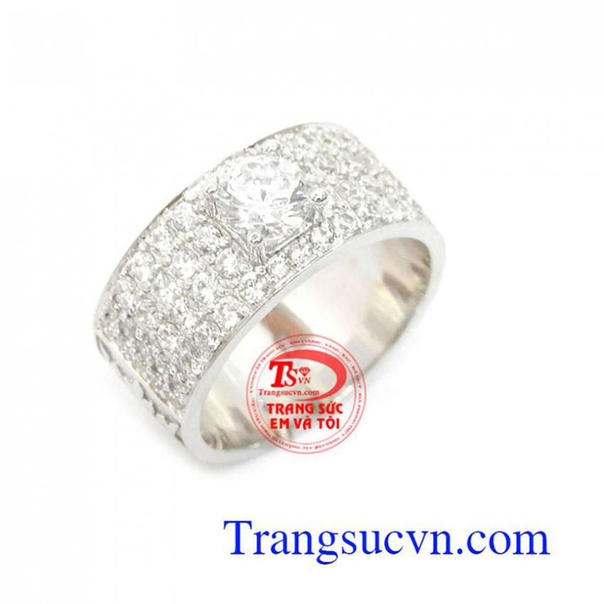 Nhẫn nam vàng trắng 10k đẹp