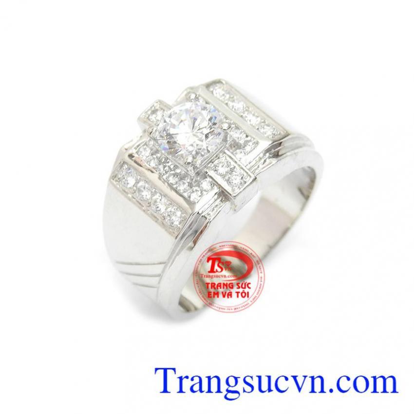 Nhẫn vàng trắng nam độc đáo