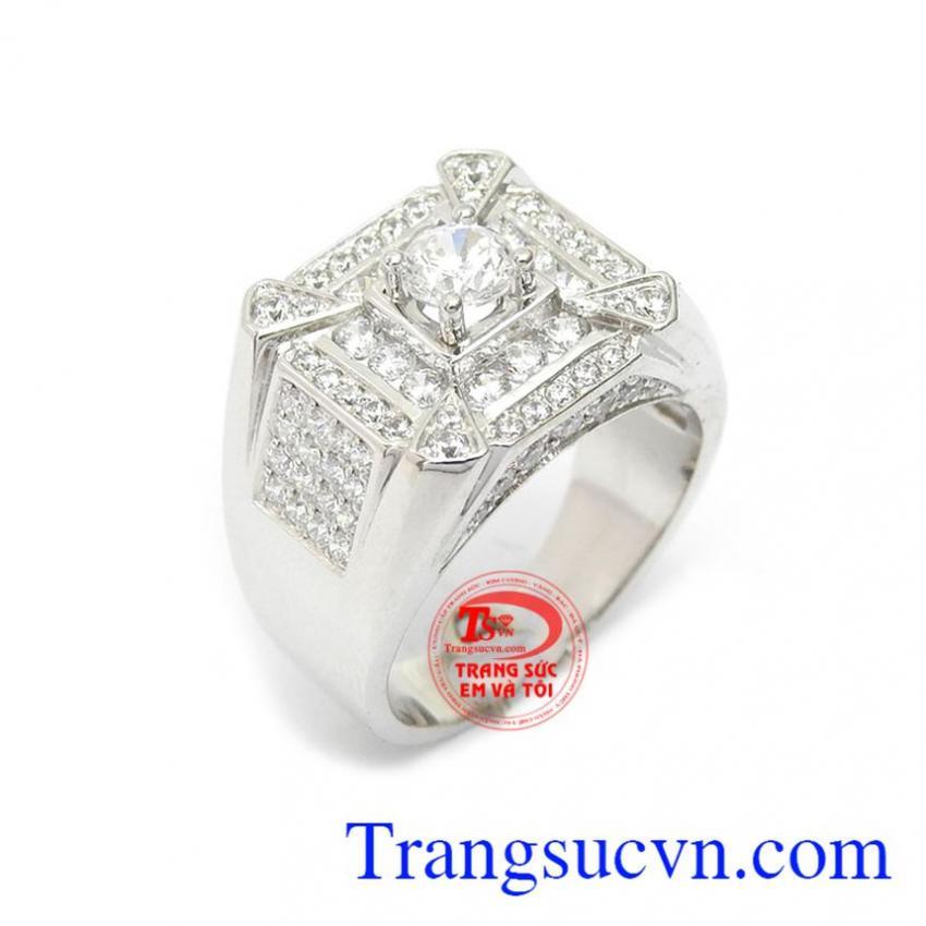 Nhẫn nam vàng trắng kiểu mới