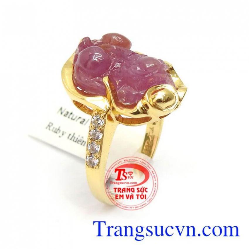 Nhẫn Tỳ Hưu Ruby Phong Thủy