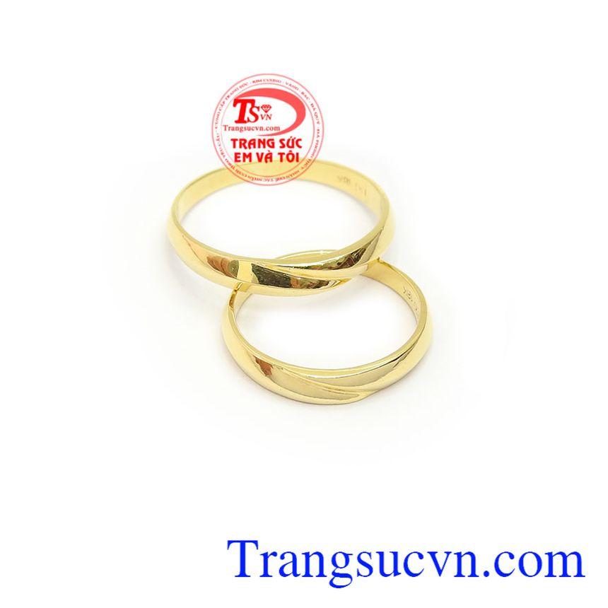Nhẫn cưới thủy chung 18k, sản phẩm vàng sang trọng, tinh tế, món quà ý nghĩa dành cho đôi lứa