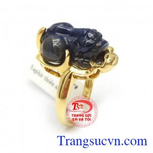 Nhẫn Tỳ Hưu Sapphire Tài Lộc