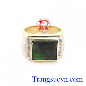 Nhẫn nam ngọc cẩm thạch phú quý vàng 14k, bảo hành 12 tháng, giao hàng nhanh trên toàn quốc