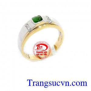 Nhẫn nam vàng trắng ngọc cẩm thạch