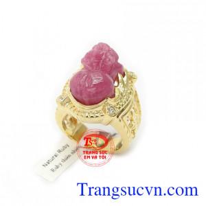 Nhẫn nam tì hưu ruby đẳng cấp vàng 14k, bảo hành 12 tháng, giao hàng nhanh trên toàn quốc