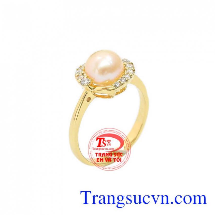 Nhẫn nữ ngọc trai hồng thời trang