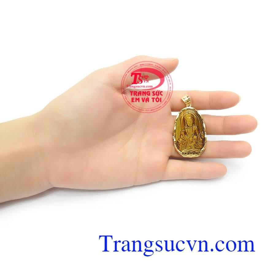 Phật Bản Mệnh Tuổi Mão Bọc Vàng đá mắt hổ thiên nhiên, Mặt Phật Văn Thù Bồ Tát