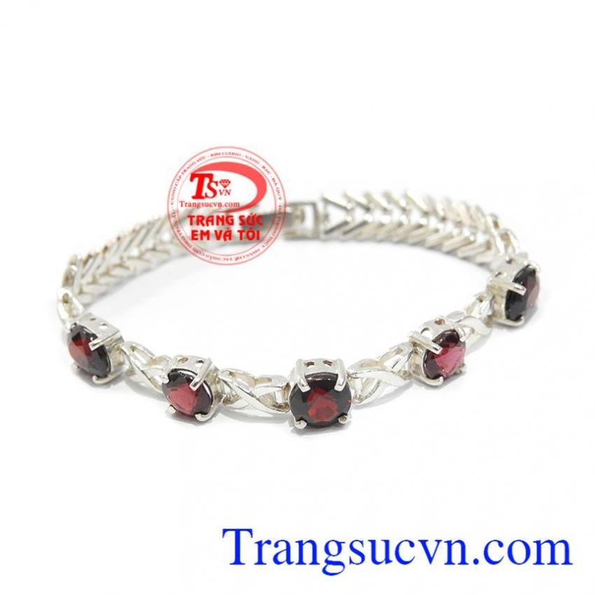 Lắc bạc đá quý garnet