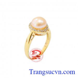 Nhẫn nữ ngọc trai hồng đáng yêu