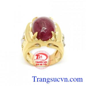 Nhẫn Nam Ruby Thịnh Vượng gắn đá Ruby thiên nhiên là viên đá hộ mệnh cho chủ sở hữu