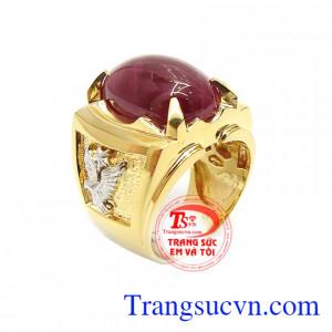 Nhẫn Nam Ruby Thịnh Vượng 18k chế tác tinh xảo, kiểu dáng thời trang, tôn lên sự mạnh mẽ, cá tính và sang trọng