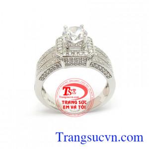 Nhẫn Nữ Vàng Trắng Phong Cách vàng 10k bền đẹp, chất lượng