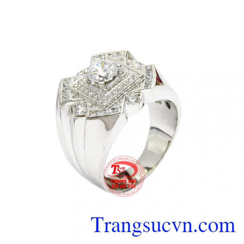 Nhẫn nam sang trọng vàng trắng 14k