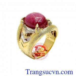 Nhẫn nam ruby 14k phong cách