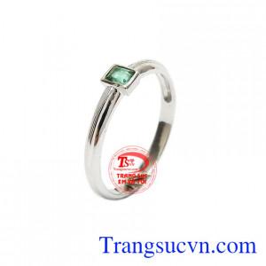 Nhẫn nam vàng trắng 14k thời trang