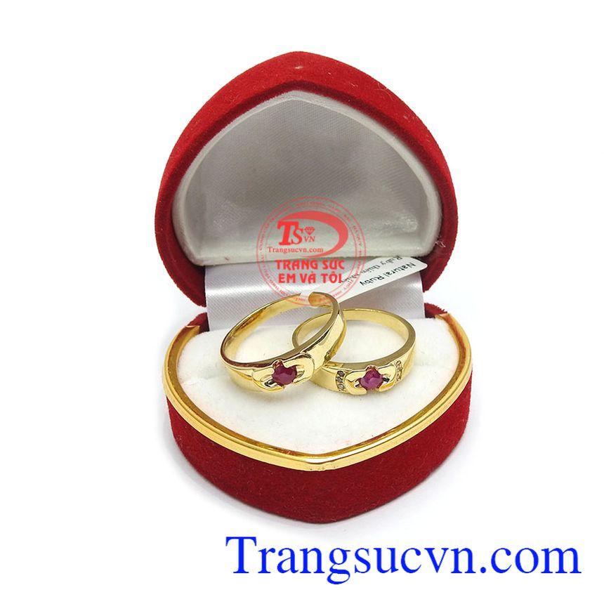 Nhẫn cưới Ruby tình yêu vàng 14k
