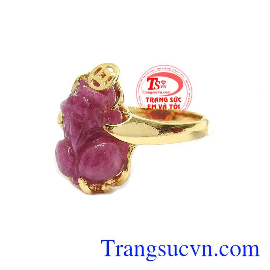 Nhẫn ruby tỳ hưu thịnh vượng vàng 14k