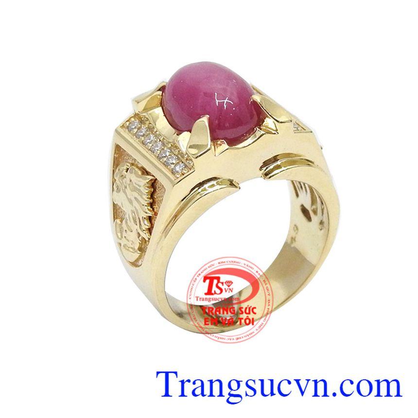 Nhẫn nam ruby sao 14k được chế tác 3D sắc nét, gắn viền đá 2 bên sang trọng