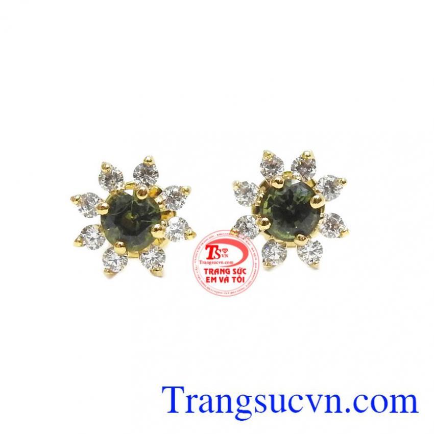 Hoa tai Sapphire may mắn 14k