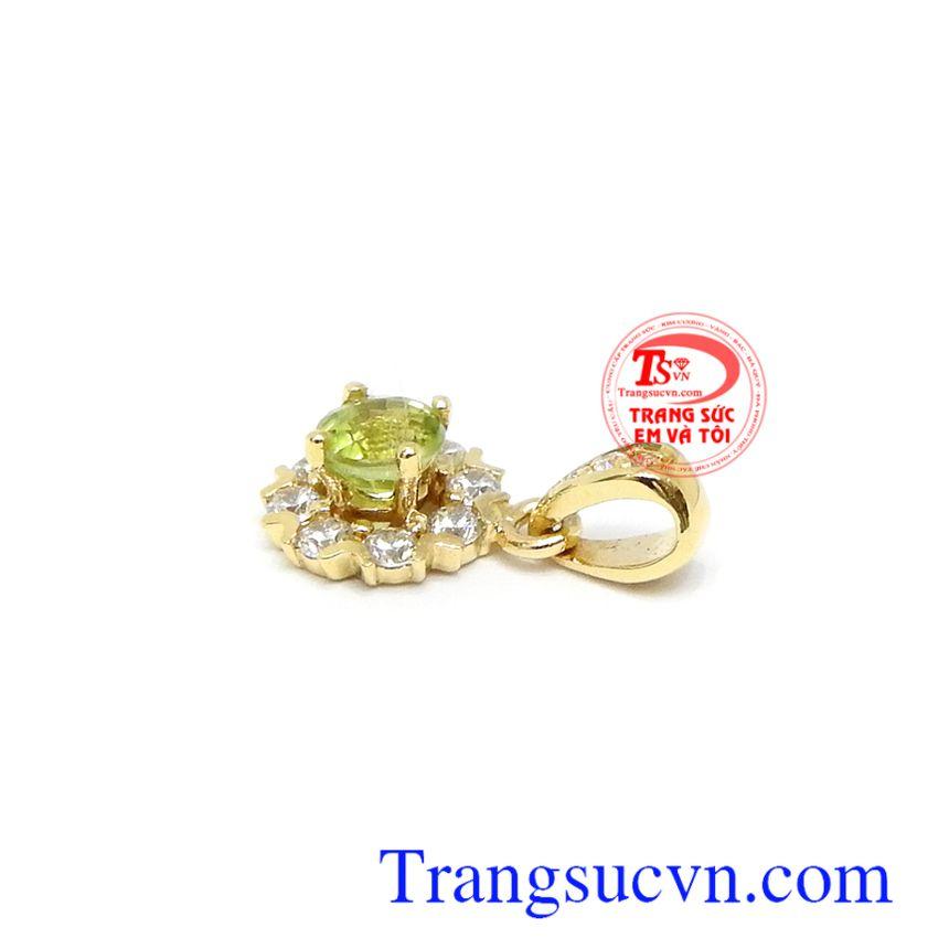 Mặt dây vàng tây đá quý thiên nhiên. Mặt dây chuyền Peridot tài lộc