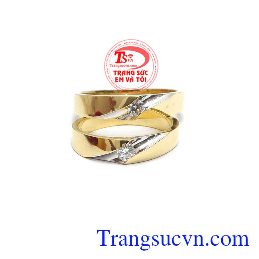 Đôi nhẫn cưới vàng tây 18k lựa chọn hoàn hảo dành cho các cặp đôi