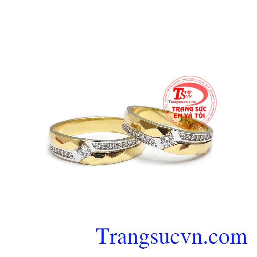 Đôi nhẫn cưới cao cấp 18k