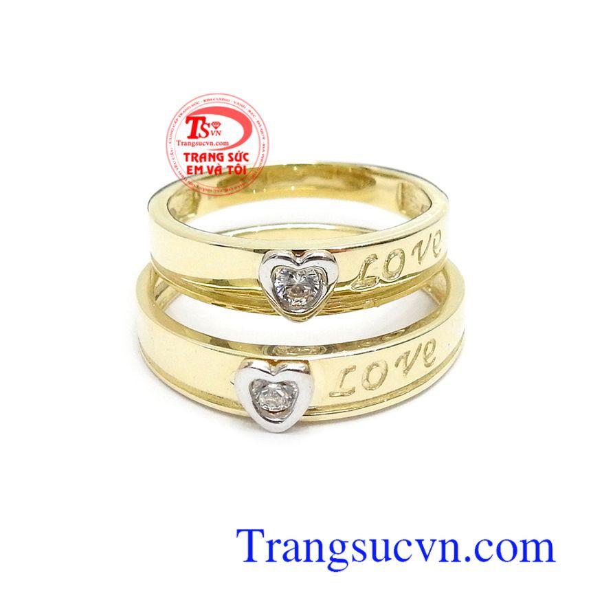 Nhẫn cưới vàng 10k nhập khẩu sắc nét, thời trang