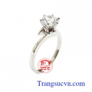 Nhẫn Nữ Vàng Trắng Thời Trang vàng 14k bền đẹp, chất lượng, đính đá độc đáo