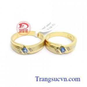 Nhẫn cưới Topaz hạnh phúc lứa đôi vàng 14k sang trọng, tinh tế