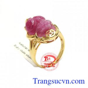Nhẫn ruby tỳ hưu phú quý