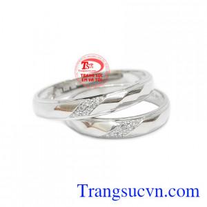 Nhẫn cưới vàng trắng thủy chung
