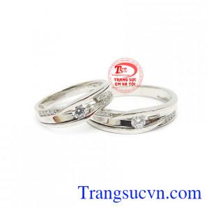 Nhẫn cưới vàng trắng 10k đẹp