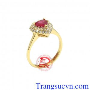 Nhẫn nữ ruby trái tim