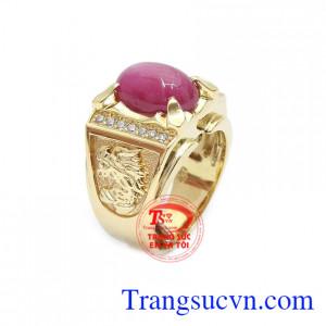 Nhẫn nam ruby sao 14k là sản phẩm trang sức vàng có gắn đá ruby thiên nhiên