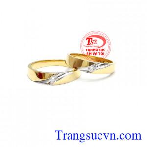 Đôi nhẫn cưới vàng tây 18k
