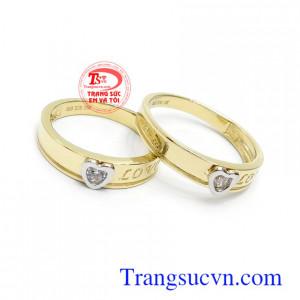 Nhẫn cưới Korea trái tim tình yêu thiết kế với ý nghĩa tình yêu mãi mãi bền chặt, mãi mãi bên nhau