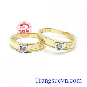 Nhẫn cưới Korea trái tim tình yêu vàng 10k nhập khẩu