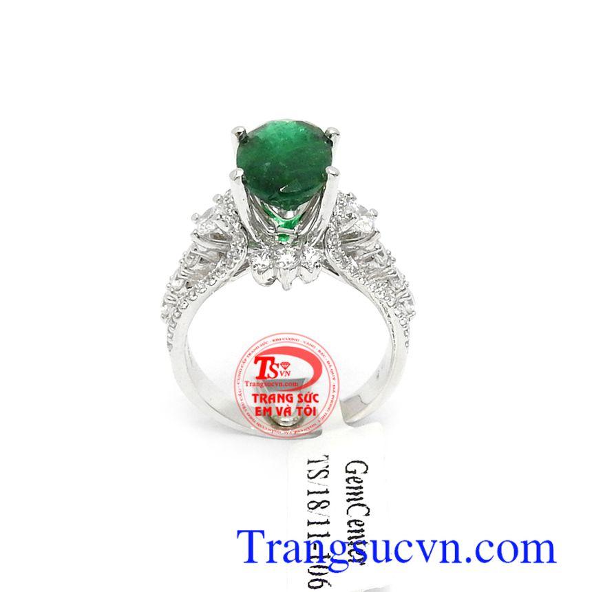Nhẫn nữ vàng trắng Emerald bình an 14k bền đẹp, chất lượng, kiểu dáng mới lạ, độc đáo