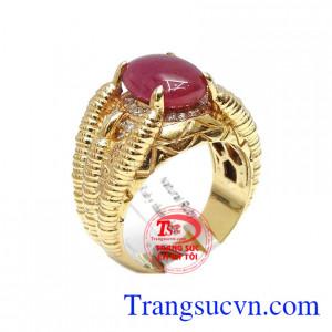Nhẫn nam ruby phong cách 14k là sản phẩm đá ruby thiên nhiên, có giấy kiểm định