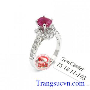 Nhẫn nữ Ruby tài lộc 14k