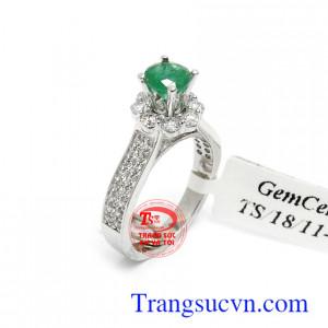 Nhẫn nữ Emerald 14k phát tài