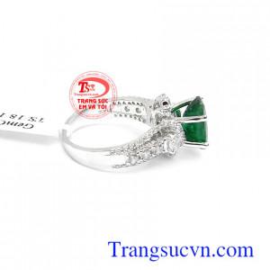 Nhẫn nữ vàng trắng Emerald bình an may mắn